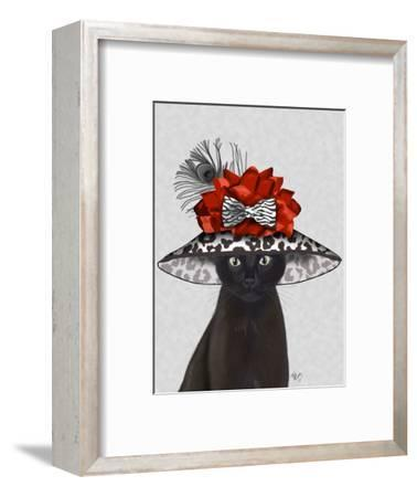 Cat, Black with Fabulous Hat-Fab Funky-Framed Art Print