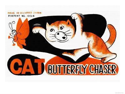 Cat Butterfly Chaser--Art Print