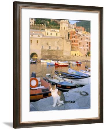 Cat by Harbour, Village of Vernazza, Cinque Terre, Unesco World Heritage Site, Liguria, Italy-Bruno Morandi-Framed Photographic Print