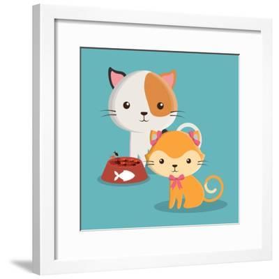 Cat Cartoon Pet Design-Diana Johanna Velasquez-Framed Art Print