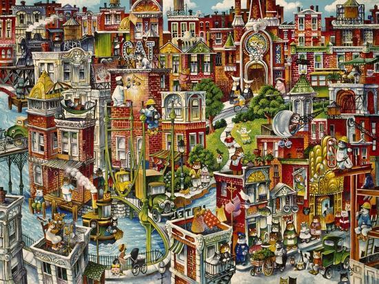 Cat City-Bill Bell-Giclee Print
