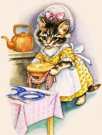 Cat Cooking a Pie--Giclee Print