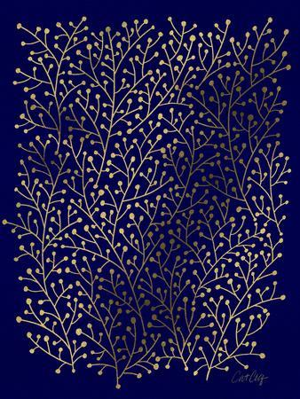 Berry Branches in Navy and Gold