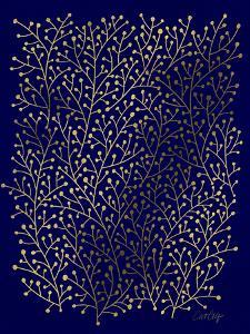 Berry Branches in Navy and Gold by Cat Coquillette