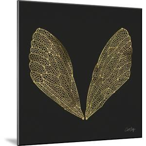 Cicada Wings in Gold Ink on Black by Cat Coquillette