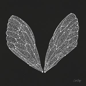 Cicada Wings in White Ink on Charcoal– Cat Coquillette by Cat Coquillette