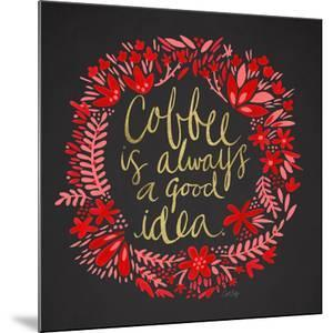 Coffee - Red and Gold on Black by Cat Coquillette