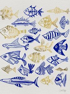 Fish Inklings in Navy and Gold Ink by Cat Coquillette