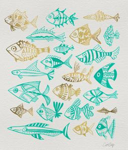 Fish Inklings in Turquoise and Gold Ink by Cat Coquillette