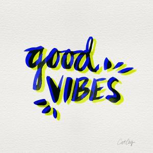 Good Vibes - Navy and Yellow Ink by Cat Coquillette