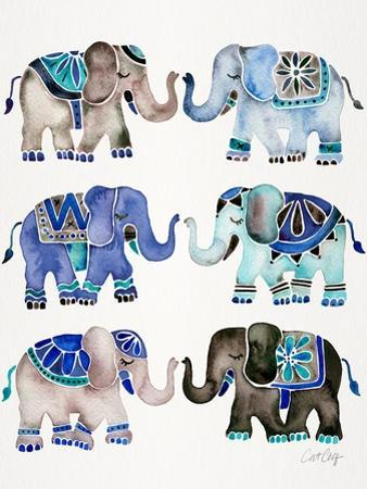Grey and Blue Elephants by Cat Coquillette