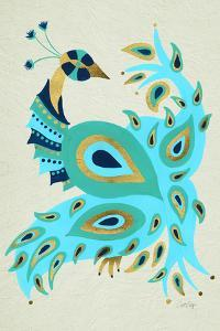 Peacock in Gold and Turquoise by Cat Coquillette