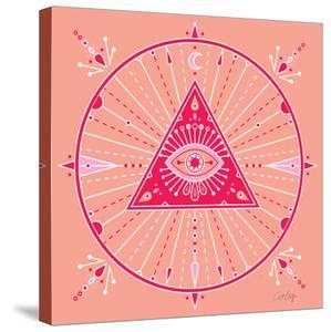 Pink Evil Eye Mandala by Cat Coquillette