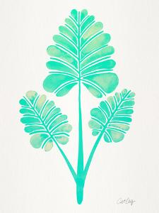 Turquoise Palm Leaf Trifecta by Cat Coquillette