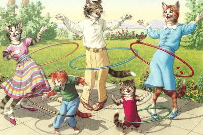 Cat Family with Hula Hoops--Art Print