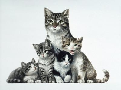 Cat Family-Harro Maass-Giclee Print