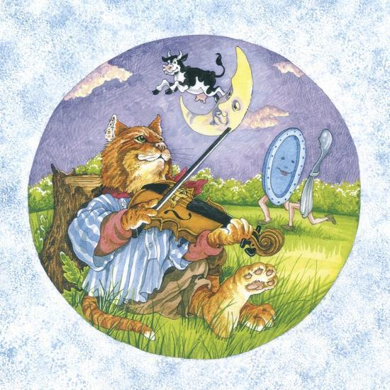 Cat Fiddle Cow Jumping over Moon Plate Running Away with a Spoon-Wendy Edelson-Giclee Print