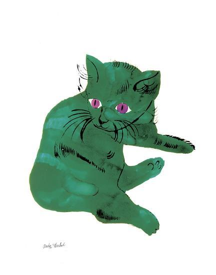 """Cat From """"25 Cats Named Sam and One Blue Pussy"""" , c. 1954 (Green Cat)-Andy Warhol-Art Print"""