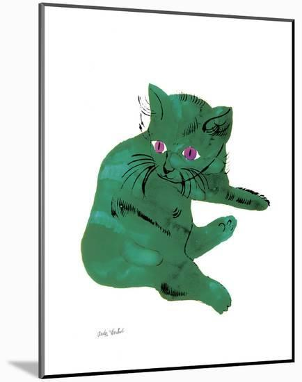"""Cat From """"25 Cats Named Sam and One Blue Pussy"""" , c. 1954 (Green Cat)-Andy Warhol-Mounted Art Print"""