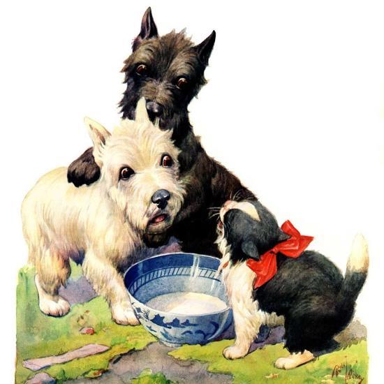 """Cat Guards Bowl of Milk,""February 27, 1926-Robert L^ Dickey-Giclee Print"
