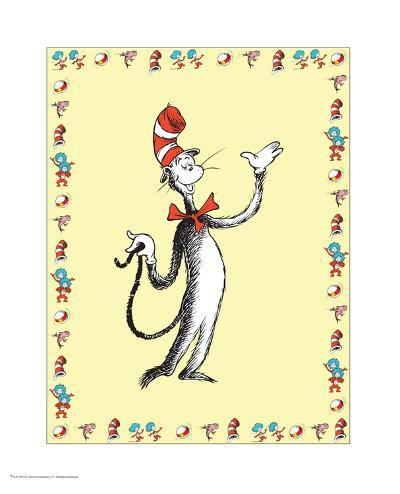 Cat in Hat Yellow Border Collection I - The Cat in the Hat (yellow bordered)-Theodor (Dr. Seuss) Geisel-Art Print
