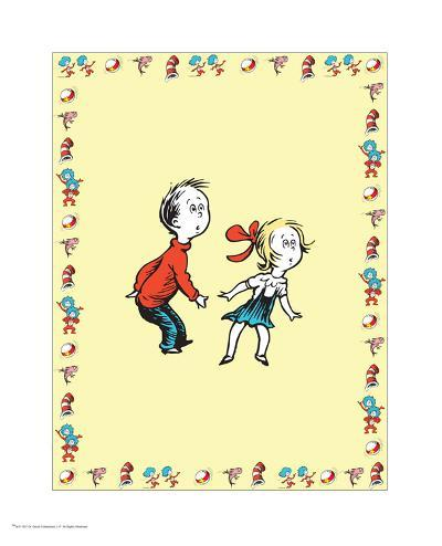 Cat in Hat Yellow Border Collection III - Sally & Her Brother (yellow bordered)-Theodor (Dr. Seuss) Geisel-Art Print