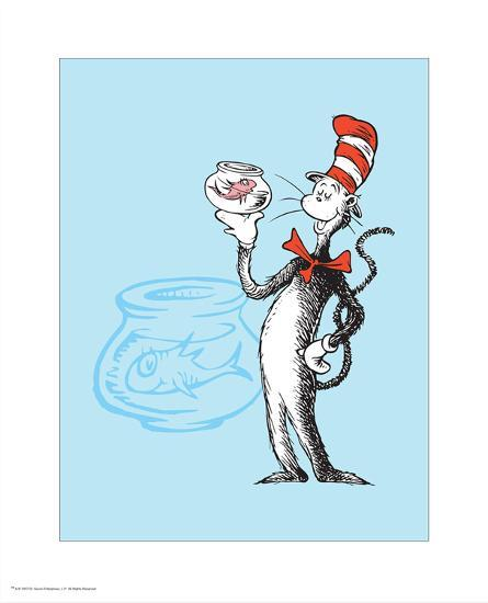 Cat in the Hat Blue Collection I - The Cat in the Hat with Fish (blue)-Theodor (Dr. Seuss) Geisel-Art Print