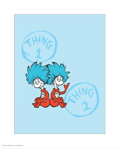 Cat in the Hat Blue Collection II - Things 1 & 2 Back to Back (blue)-Theodor (Dr. Seuss) Geisel-Art Print