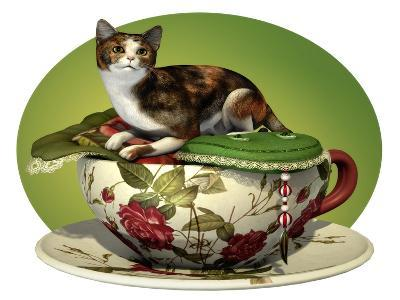 Cat N Cup Calico-Atelier Sommerland-Art Print