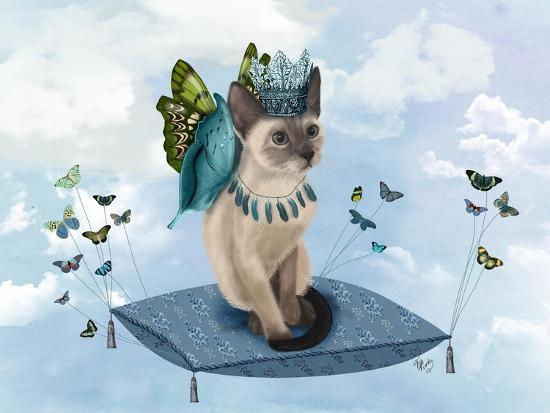 Cat on Pillow with Butterflies-Fab Funky-Art Print