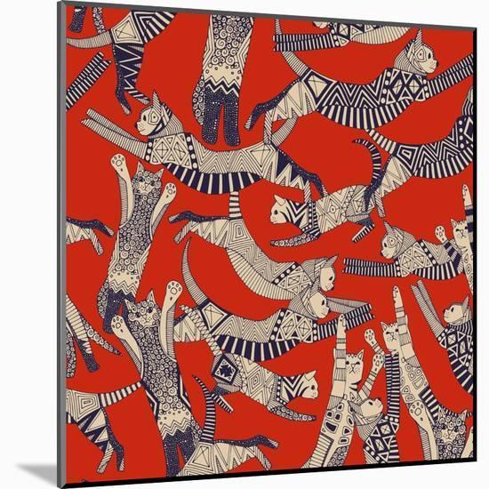Cat Party Retro-Sharon Turner-Mounted Art Print