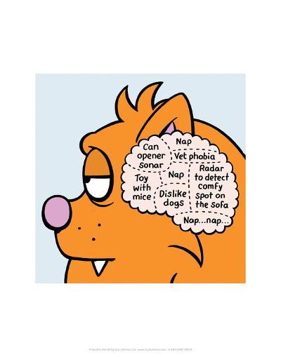 Cat Thoughts - Antony Smith Learn To Speak Cat Cartoon Print-Antony Smith-Art Print