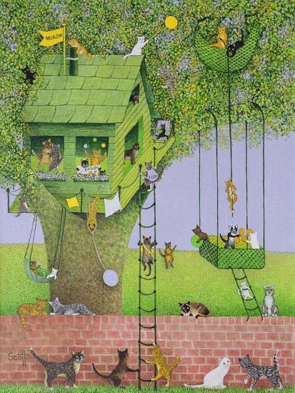 Cat Tree House-Pat Scott-Giclee Print
