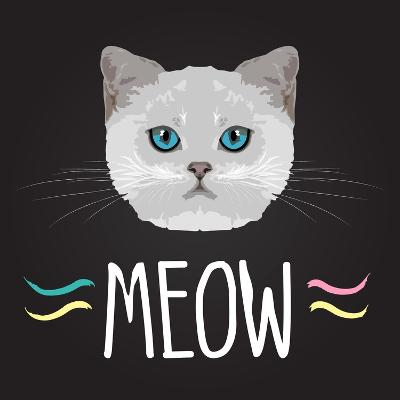 Cat Typography, T-Shirt Graphics , Vectors- PatternTrends-Art Print