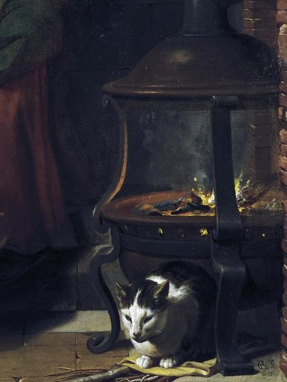 Cat under Burning Brazier, Detail from Infant Jesus Sleeping-Charles Le Brun-Giclee Print