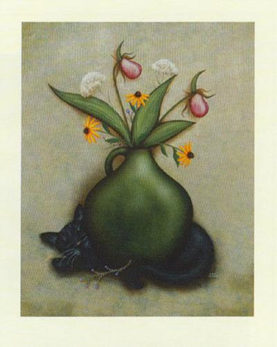 Cat & Vase I-Jessica Fries-Art Print