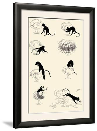Cat Versus Goldfish-Th?hile Alexandre Steinlen-Framed Photographic Print