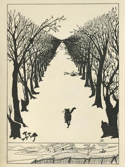 Cat Walking--Giclee Print