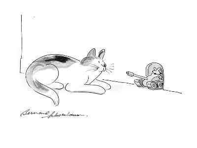 Cat watches as mouse comes out of hole in military tank. - Cartoon-Bernard Schoenbaum-Premium Giclee Print