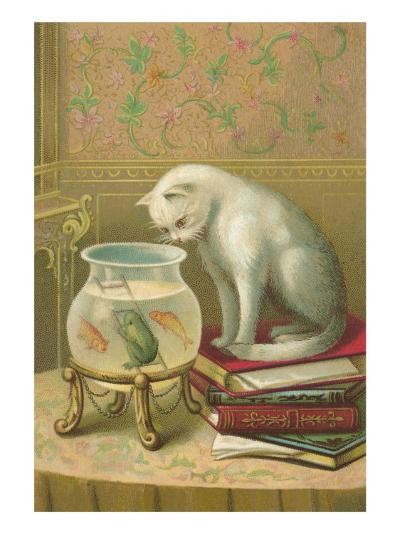 Cat Watching Frog and Fish--Art Print