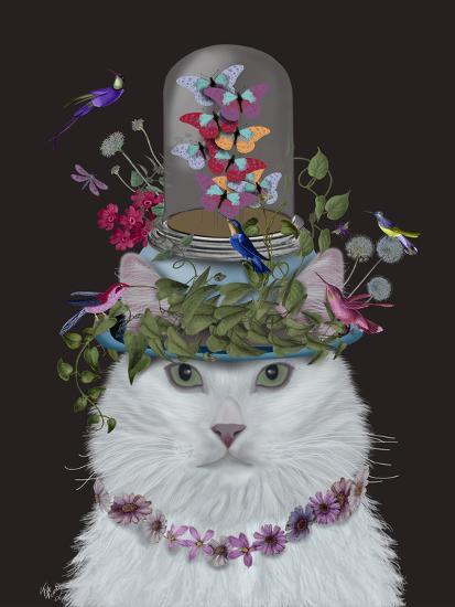 Cat, White with Butterfly bell jar, on black-Fab Funky-Art Print