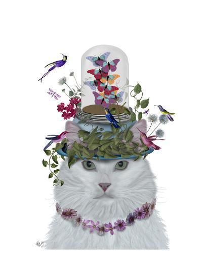 Cat, White with Butterfly bell jar-Fab Funky-Art Print