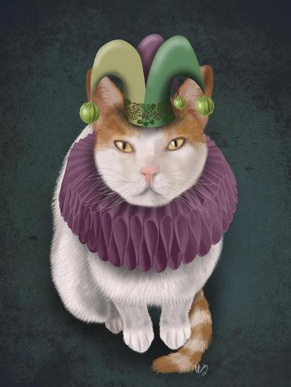 Cat, White with Jester Hat-Fab Funky-Art Print