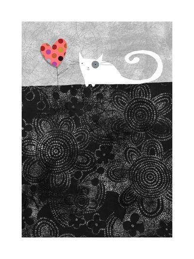 Cat with Heart Flower--Art Print