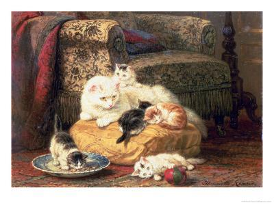 Cat with Her Kittens on a Cushion-Henriette Ronner-Knip-Giclee Print