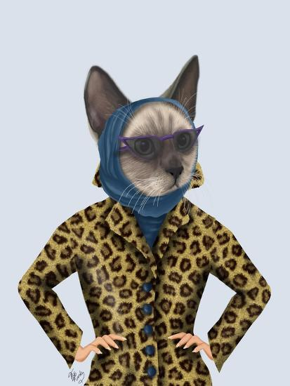 Cat with Leopard Jacket-Fab Funky-Art Print