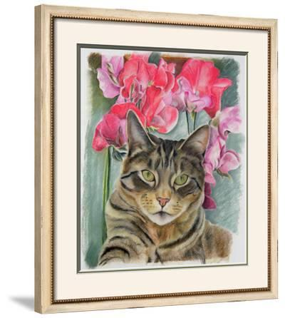 Cat with Sweet Peas-Anne Robinson-Framed Giclee Print
