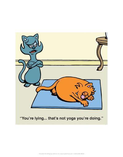Cat Yoga - Antony Smith Learn To Speak Cat Cartoon Print-Antony Smith-Art Print