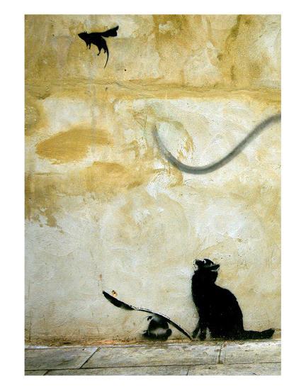 Cat-Banksy-Art Print