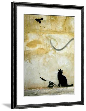 Cat-Banksy-Framed Giclee Print